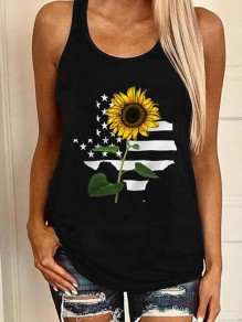 Black Sunflower Print U-neck Sleeveless Casual Cute Vest