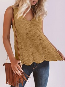 Yellow Patchwork Cut Out Knitwear Ttrendy V-neck Fashion Vest