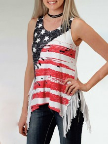 White Patchwork Tassel American Flag Print V-neck Sleeveless Independence Day Vest