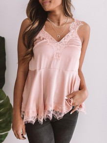 Pink Patchwork Lace V-neck Fashion Polyester Vest