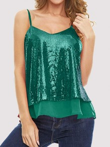 Green Patchwork Sequin Grenadine V-neck Sleeveless Fashion Vest