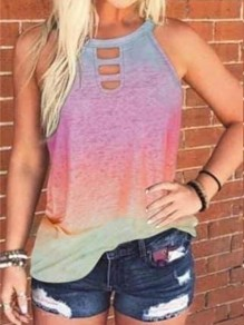Pink Patchwork Cut Out Tie Dye Halter Neck Casual Vest