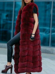 Burgundy Bubble Fox Faux Fur Sleeveless Fluffy Thick Waistcoat Vest