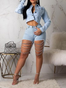 Light Blue Chain Cut Out Distressed Ripped Buttons Pockets Denim High Waisted Party Short Jean