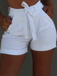 White Sashes Pockets Buttons High Waisted Fashion Short Jeans