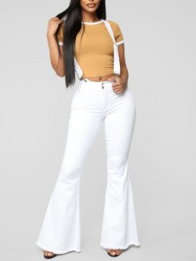 White Buttons High Waisted Flare Bell Bottom Denim Long Overall Jeans