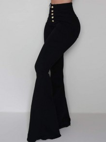 Black Single Breasted Pockets High Waisted Bell Bottomed Flares Long Jean