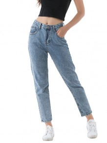 Light Blue Pockets High Waisted Denim Harem Mom Jean