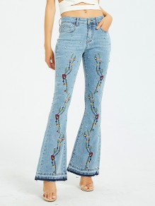 Light Blue Embroidery Pockets Denim Bell Bottomed Flares High Waisted Long Jean