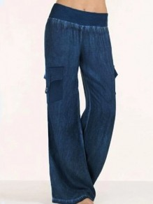 Dark Blue Patchwork Pockets Elastic Waist Slacks Fashion Long Jeans