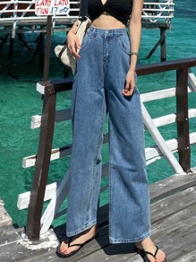 Blue Patchwork Buttons Wide Leg High Waisted Fashion Jeans Pants