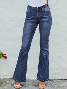 Dark Blue Patchwork Pockets Zipper High Waist Long Bell Bottom Jeans