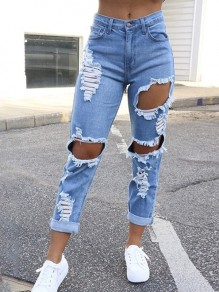 Blue Pocket Ripped Destroyed High Waisted Vintage Boyfriend Long Jean Pants