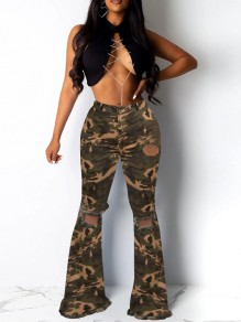 Camouflage Cut Out Distressed Ripped Denim High Waisted Bell Bottomed Flares Long Jean