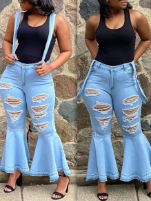 Light Blue Cut Out Distressed Ripped Pockets Denim Party High Waisted Overall Bell Bottomed Flares Long Jean
