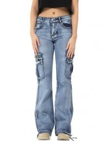 Light Blue Patchwork Pockets Hippy Straight High Waisted Fashion Jeans Pants
