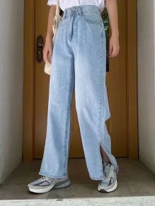 Light Blue Slit Pocket Loose High Waisted Vintage Boyfriend Long Jeans