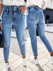 Blue Patchwork Pockets Zipper High Waist Fashion Streetwear Long Jeans