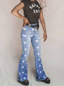 Blue Star Print Denim Party High Waisted Long Bell Bottomed Flares Jean