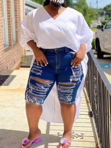 Navy Blue Cut Out Distressed Ripped Pockets Plus Size Denim High Waisted Short Jean