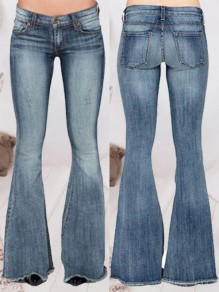 Light Blue Patchwork Pockets Flare Low-rise Fashion Jeans Pants