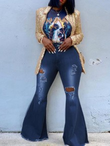 Dark Blue Cut Out Ripped Destroyed High Waisted Extreme Flare Bell Bottom Long Jeans