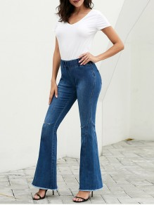 Sky Blue Pockets Cut Out Distressed Ripped High Waisted Denim Bell Bottomed Flares Casual Long Jean