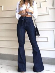 Dark Blue Belt Buttons Pockets High Waisted Denim Bell Bottomed Flares Long Jean