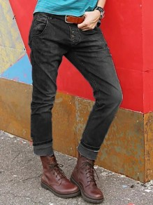 Black Buttons Pockets Mid-rise Fashion Loose Long Jeans