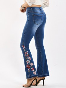 Blue Patchwork Embroidery Flare Bell Bottom High Waist Elegant Long Jeans