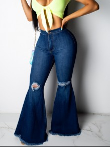 Dark Blue Pockets Ripped Destroyed High Waisted Fashion Long Bell Bottom Jeans