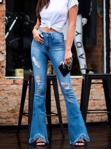 Light Blue Ripped Distressed Pockets Buttons High Waisted Flare Bell Bottom Long Jeans