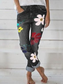 Black Flowers Print Pockets Buttons High Waisted Fashion Long Jeans