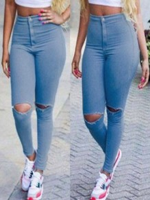 Light Blue Cut Out Pockets Buttons High Waisted Fashion Long Jeans