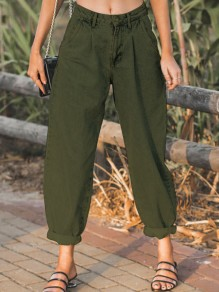 Army Green Pockets Buttons High Waisted Loose Long Jeans