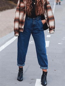 Dark Blue Pockets Buttons High Waisted Loose Long Jeans