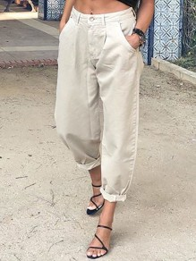 Khaki Pockets Buttons High Waisted Loose Long Jeans