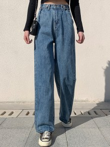 Dark Blue Pockets Wide Leg Pants Baggy High Waisted Fashion Long Jeans