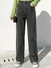 Black Grey Pockets Wide Leg Pants Baggy High Waisted Fashion Long Jeans