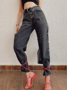 Black Pockets Buttons High Waisted Slit Retro Boyfriend Long Jeans