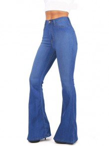 Blue Pockets Buttons High Waisted Flare Bell Bottom Slim Big Booty Vintage Long Jeans Pants