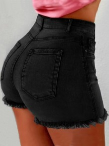 Black Pockets Buttons High Waisted Push Up Fashion Short Jeans