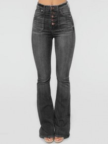 Black Single Breasted Distressed Pockets High Waisted Flare Bell Bottom Long Jeans