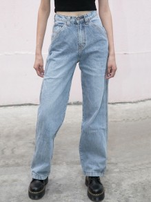 Light Blue Pockets Buttons High Waisted Fashion Loose Long Jeans