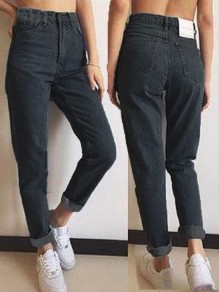 Black Pockets Buttons High Waisted Boyfriend 90's jeans Vintage Mom Jeans
