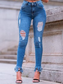 Blue Patchwork Pockets Buttons Tassel Ripped Destroyed High Waisted Long Jeans
