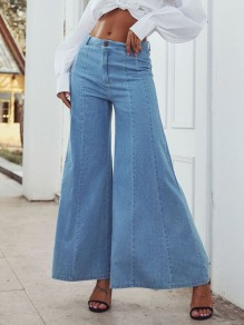 Blue Patchwork Zipper High Waist Elegant Long Flare Jeans