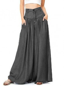 Black Draped Pockets High Waisted Wide Leg Plus Size Pajama Long Jeans