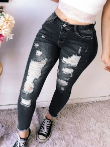 Black Pocket Ripped Destroyed High Waisted Long Jean Pants