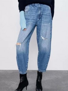 Light Blue Pocket Ripped Destroyed High Waisted Boyfriend Long Jean Pants